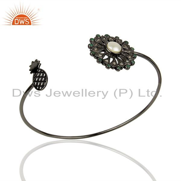 Natural Pearl Gemstone Pave Diamond 925 Silver Cuff Bangle Supplier