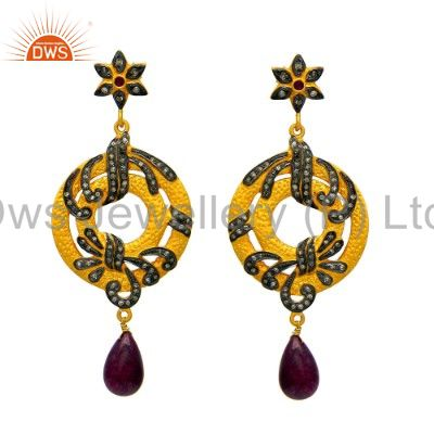 18K Yellow Gold Sterling Silver Pave Diamond And Ruby Dangle Earrings