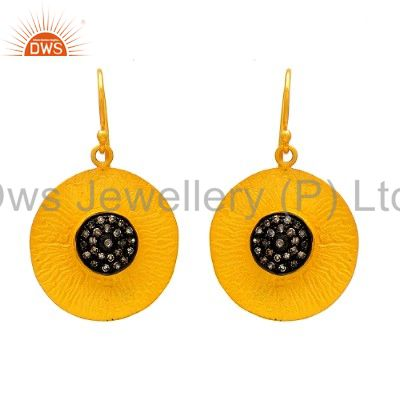 22K Yellow Gold Plated Sterling Silver Pave Set Diamond Disc Dangle Earrings