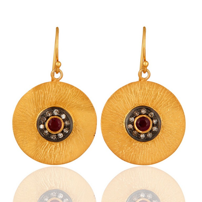 Pave Set Diamond Ruby Precious Stone Sterling Silver Earrings - Gold Plated