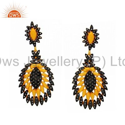 18K Yellow Gold Plated Sterling Silver Pave Set Diamond Vintage Dangle Earrings