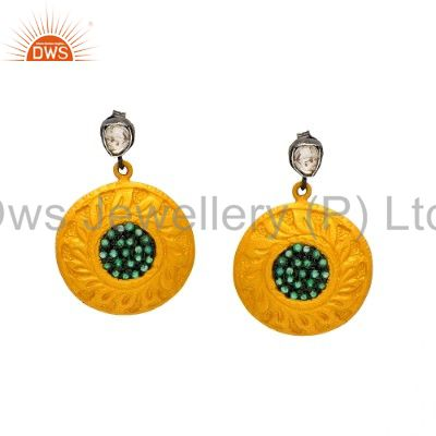 18K Yellow Gold Over Sterling Silver Rose Cut Diamond And Emerald Disc Earrings