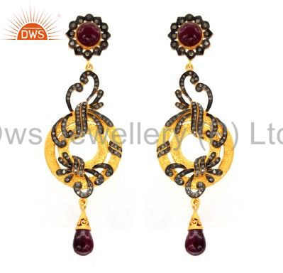 18K Yellow Gold Plated Sterling Silver Pave Diamond And Ruby Dangle Earrings