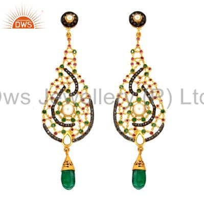 18K Gold Plated Sterling Silver Pave Diamond And Emerald, Pearl Dangle Earrings