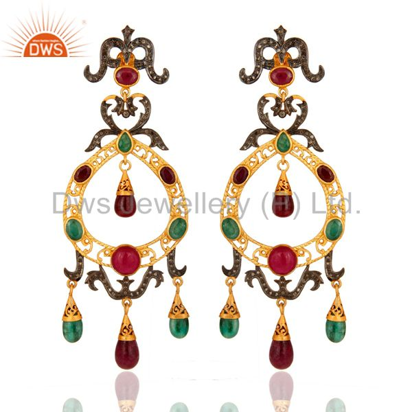 Natural Ruby And Emerald Pave Diamond Designer Victorian Silver Earrings