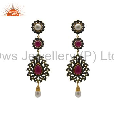 18K Yellow Gold Plated Sterling Silver Ruby And Pave Diamond Dangle Earrings