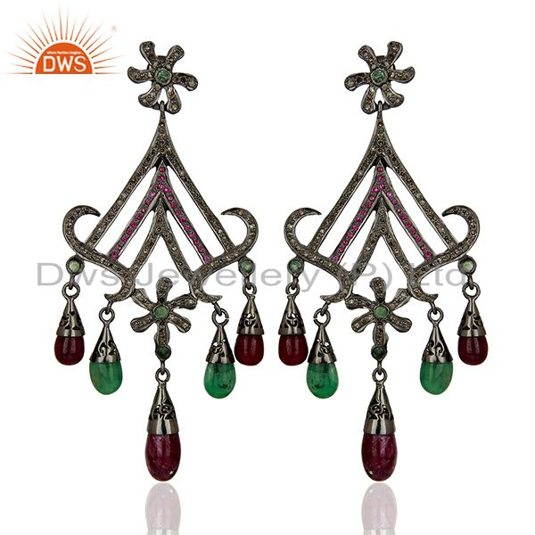 Black Rhodium Plated Pave Diamond Ruby Gemstone Earrings Supplier