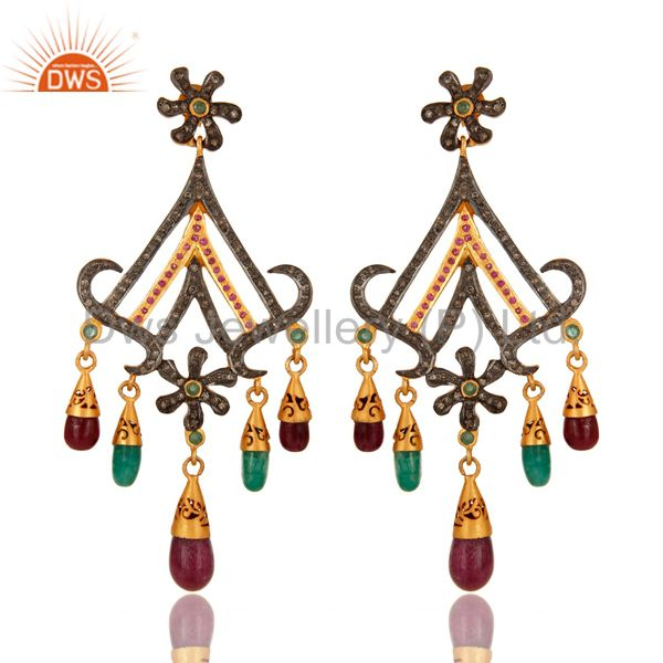 18K Gold And Sterling Silver Pave Diamond Ruby & Emerald Chandelier Earrings
