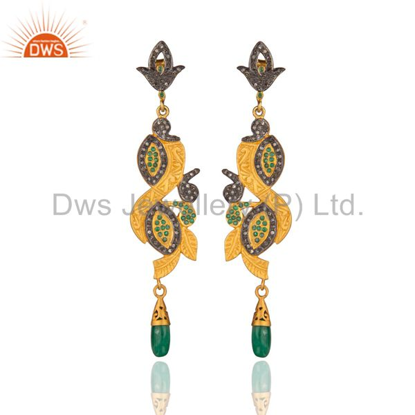 Long Dangler!Gold Plated Sterling 925 Silver Real Diamond Pave Emerald Earring