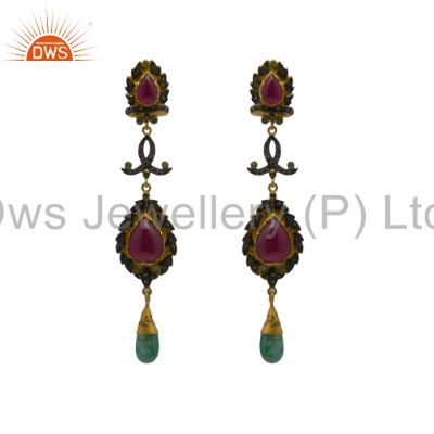 Pave Set Diamond And Emerald, Ruby 18K Gold Sterling Silver Dangle Earrings