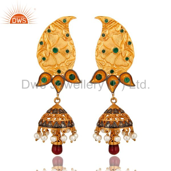 18K Gold On Sterling Silver Ruby, Emerald Pave Diamond Jhumka Earrings