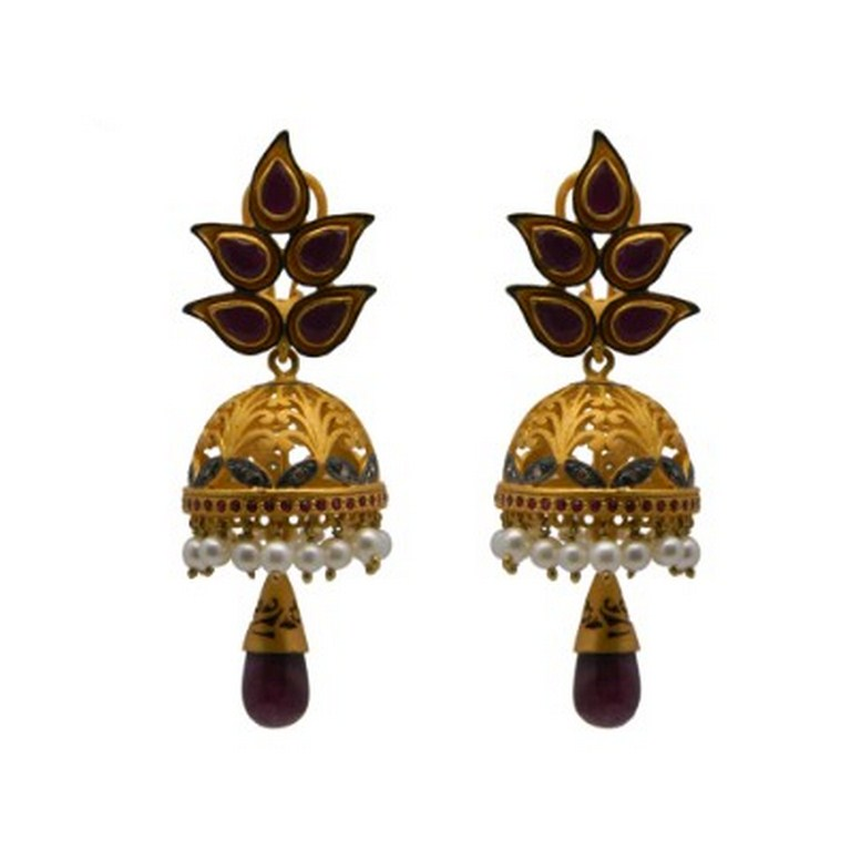 18K Gold Sterling Silver Pave Diamond And Ruby, Pearl Womens Jhumka Earrings