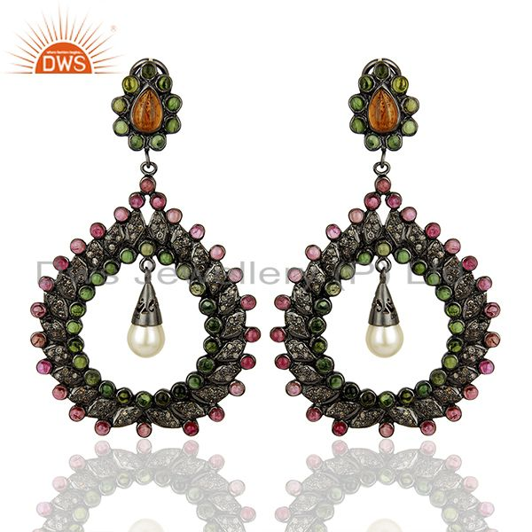Handamde Pave Diamond Ruby Gemstone Earrings Jewelry Manufacturer