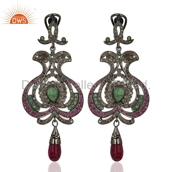 Pave Diamond Ruby Gemstone 925 Sterling Silver Earrings Supplier