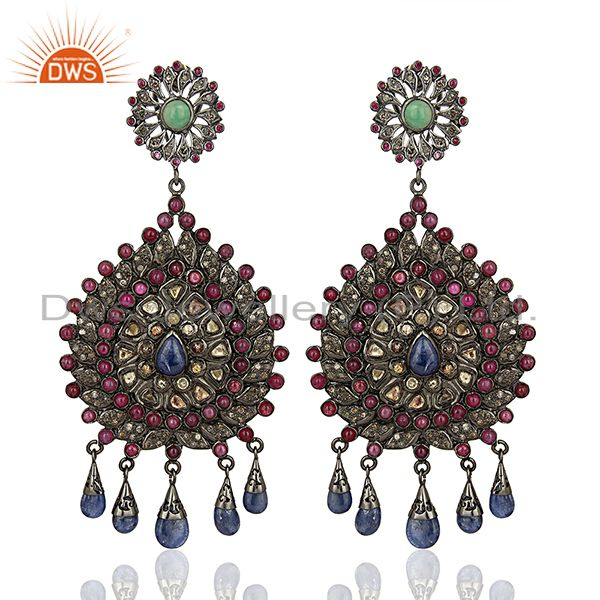 Designer 925 Sterling Pave Diamond Gemstone Earrings Jewelry Supplier