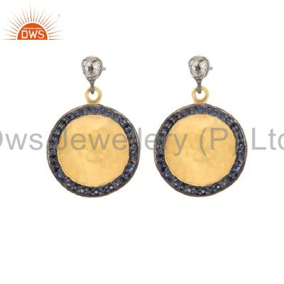 18K Gold Plated Sterling Silver Rose Diamond And Blue Sapphire Disc Earrings