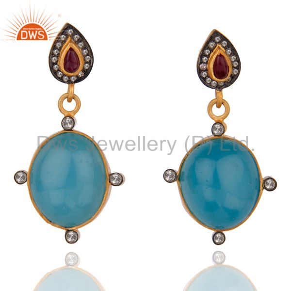 Pave Diamond Drop 18K Yellow Gold Over Sterling Silver Blue Chalcedony Earrings