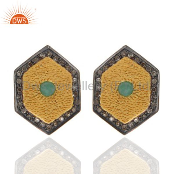 Gold Plated 925 Sterling Silver Pave Diamond Emerald Gemstone Women Stud Earring