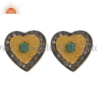 925 Sterling Silver Emerald and Diamond Accent Heart Design Earrings With 18K