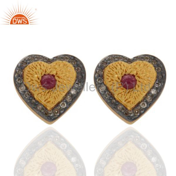18K Gold On Sterling Silver Ruby and Diamond Accent Heart Design Earrings