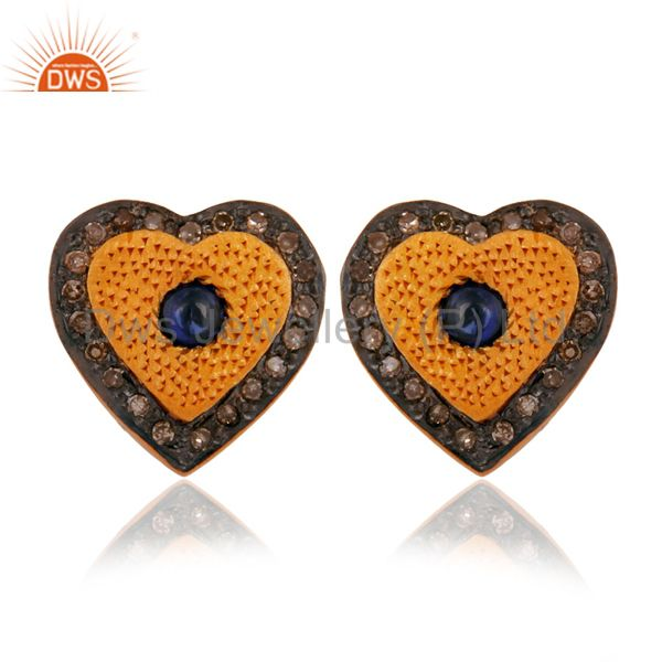 Blue Sapphire Pave Diamond 925 Sterling Silver Sweet Heart-Shaped Studs Earrings