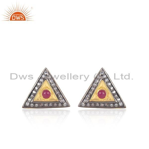 Cz and ruby set gold and black plated silver rhombus tops