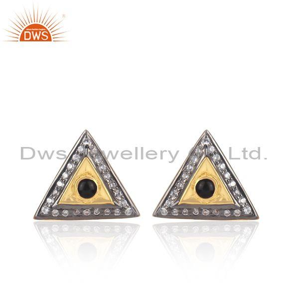 Black onyx, cz set gold, black on silver triangular earrings