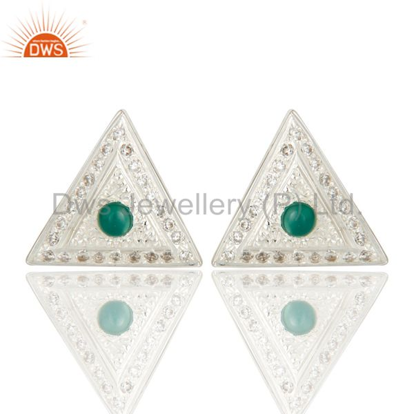 Solid Sterling Silver Green Onyx And CZ Stud Earrings For Her