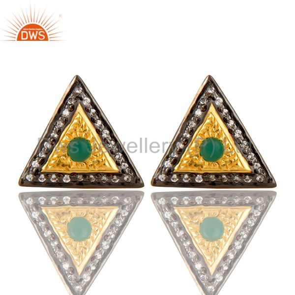 14K Yellow Gold Plated Sterling Silver Green Onyx And CZ Stud Earrings For Her