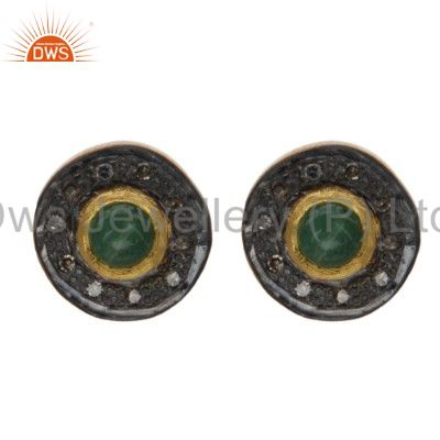 18K Yellow Gold Sterling Silver Pave Diamond And Emerald Womens Stud Earrings