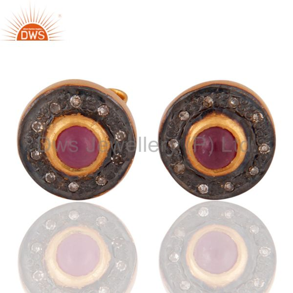Pave Diamond Ruby Gemstone Stud Earring 925 Sterling Silver Gold Plated Jewelry