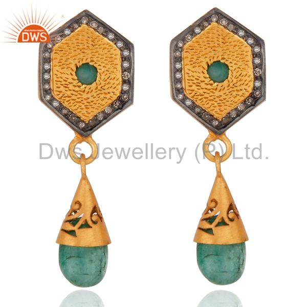 Pave Diamond Emerald Gemstone Drop Earring 925 Sterling Silver Fashion Jewelry