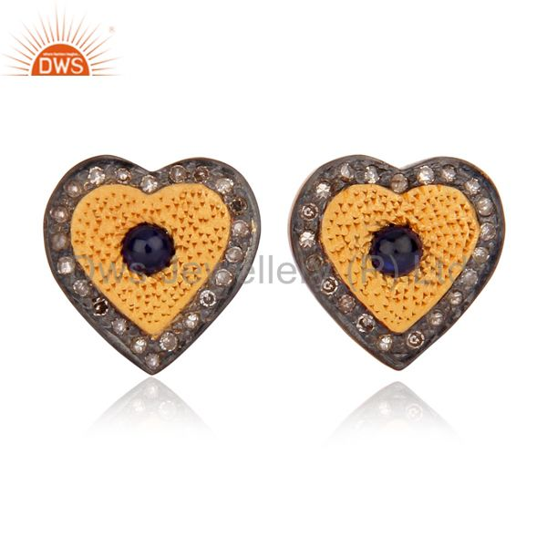 925 Sterling Silver Real Pave Diamond Blue Sapphire Womens Heart Stud Earrings