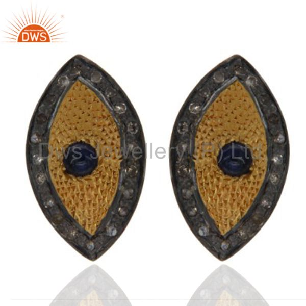 Gold Plated 925 Sterling Silver Pave Diamond Blue Sapphire Gemstone Stud Earring
