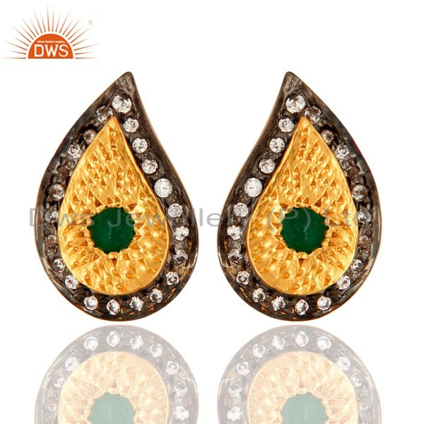 18k Yellow Gold-Plated Green Aventurine And CZ Teardrop Stud Earrings