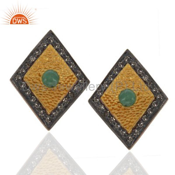 925 Sterling Silver Emerald Gemstone Pave Diamond Stud Earring With Gold Plated