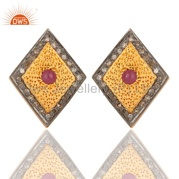 925 Sterling Silver Ruby Gemstone Pave Diamond Stud Earring With Gold Plated
