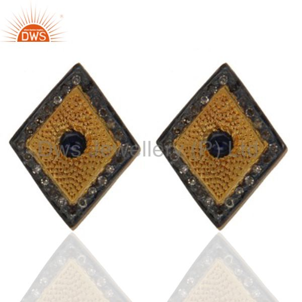 925 Sterling Silver Sapphire Gemstone Pave Diamond Stud Earring With Gold Plated