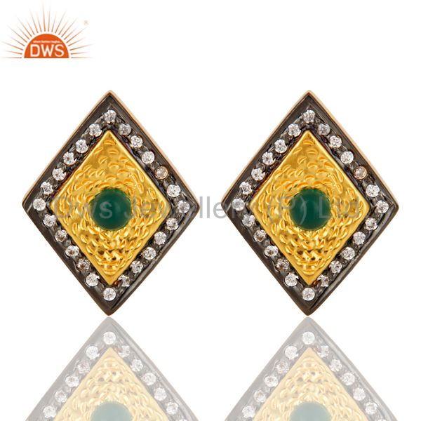 14K Yellow Gold Plated Sterling Silver Green Onyx And CZ Womens Stud Earrings