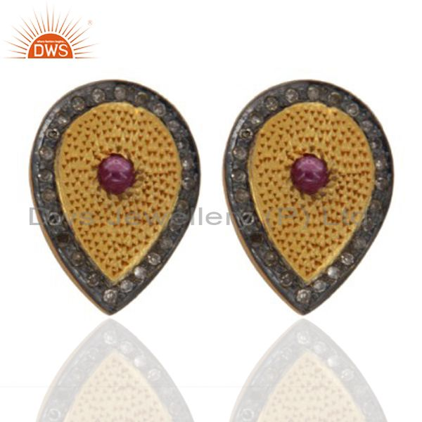 Ruby Gemstone Pave Diamond 925 Sterling Silver Stud Earring With Gold Plated