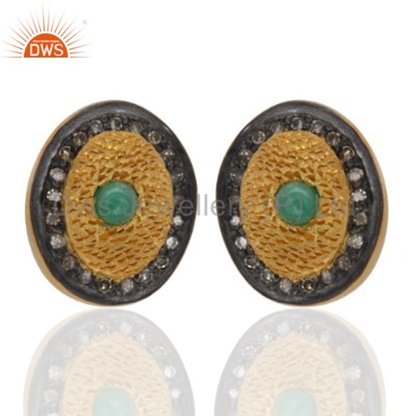Gold Plated Sterling Silver Oval Stud Earrings With Pave Diamond Emerald Jewelry