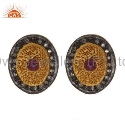 Yellow Gold Plated Sterling Silver Pave Diamond Ruby Oval Stud Earrings
