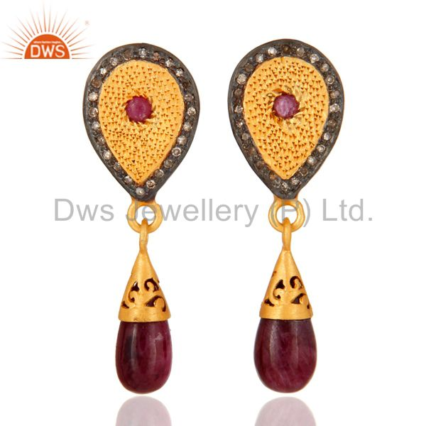 Gold Plated 925 Sterling Silver Pave Diamond Gemstone Drop And Dangle Earrings