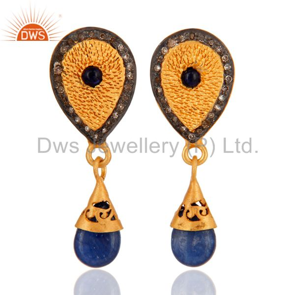 18K Gold Over 925 Sterling Silver Blue Sapphire Pave Diamond Drop Earrings