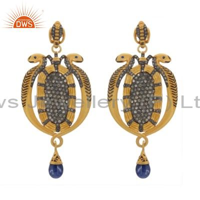 Blue Sapphire Pave Diamond Vintage Snake 925 Silver Occasion Designer Earrings