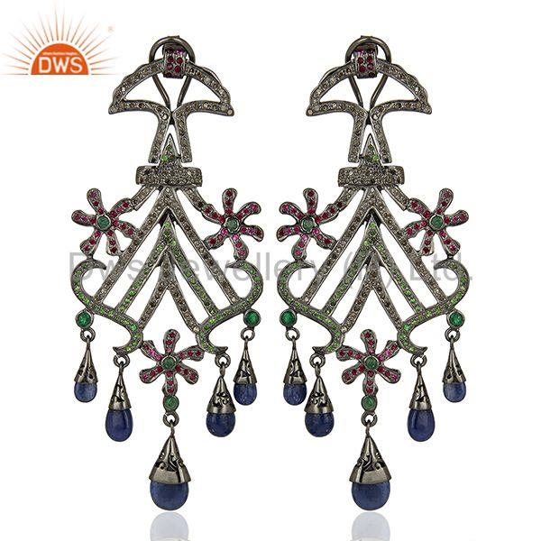Blue Sapphire Gemstone Pave Diamond 925 Silver Earrings Supplier