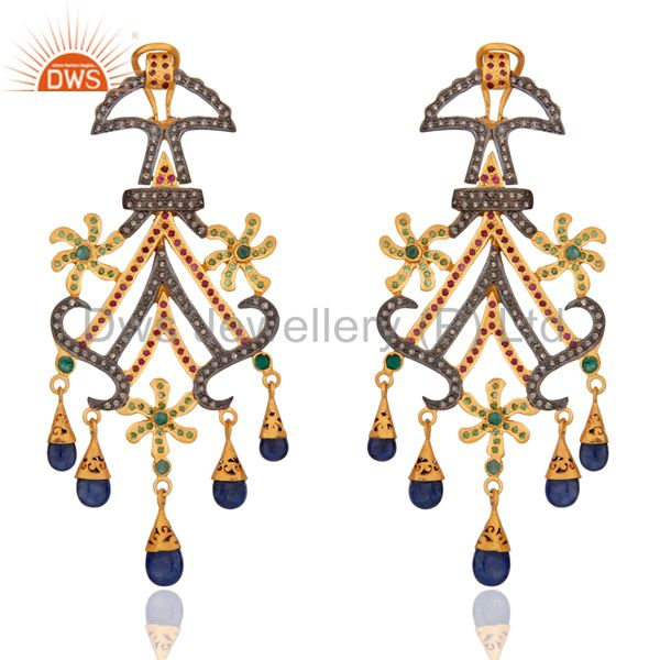 Victorian Style Multi Colored Gemstone Sapphire Chandelier Diamond Earrings Ster