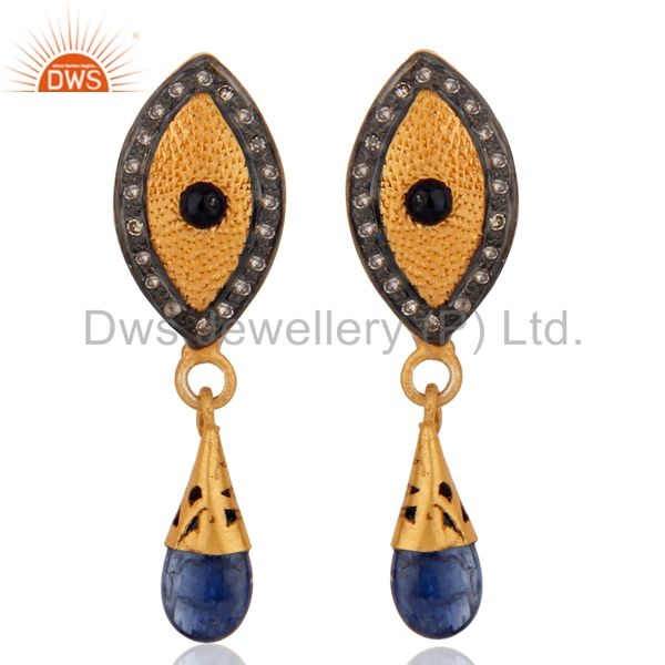 925 Sterling Silver Pave Diamond Blue Sapphire Drop Earring For Womens Jewelry