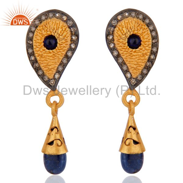 Blue Sapphire Gemstone 18kt Gold Plated 925 Sterling Silver Pave Diamond Earring