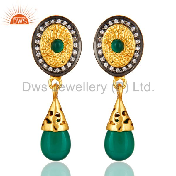 14K Yellow Gold Plated Sterling Silver Green Onyx Fashion Drop Earrings With CZ